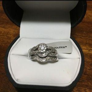 NIB Platinum Diamond Wedding Set Sapphire $2,137